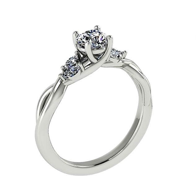 Round Diamond  Engagement Ring with Marquise Side Stones 18K Super White Gold - Thenetjeweler