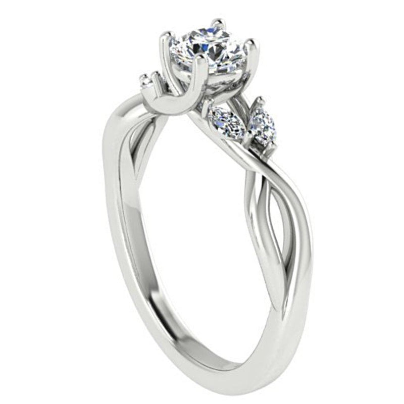 Round and Marquise Diamond Twist Engagement Ring 18K White Gold - Thenetjeweler