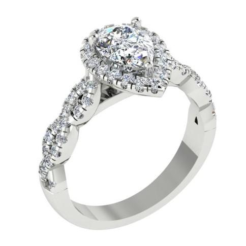 Pear Diamond Halo Split Wave Band Engagement Ring 18K White Gold - Thenetjeweler