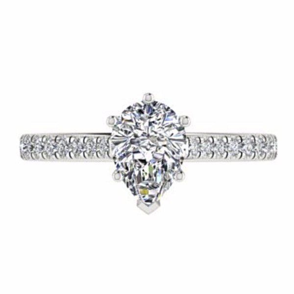 Pear Diamond Engagement Ring with Side Stones 18K Gold - Thenetjeweler