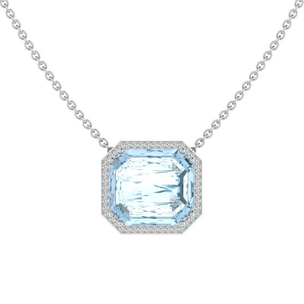 Aquamarine Emerald Cut Diamond Halo Pendant - Thenetjeweler