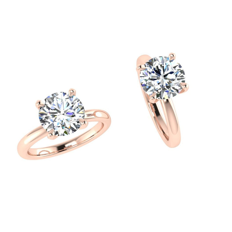 18k Rose Gold Round Solitaire Diamond Engagement Ring