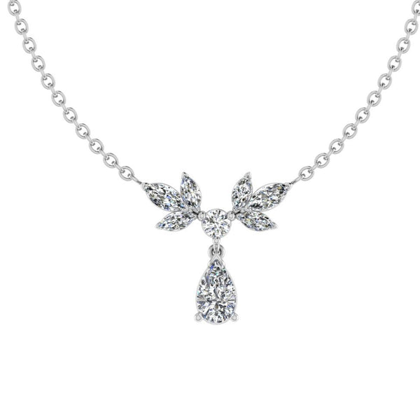 1 carat Diamond Leaf Pendant Necklace - Thenetjeweler