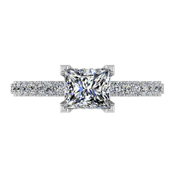 This elegant princess setting diamond engagement ring is made to fit a princess cut center stone of your choice, features a glittering hidden halo of diamonds that wraps around the center gem.