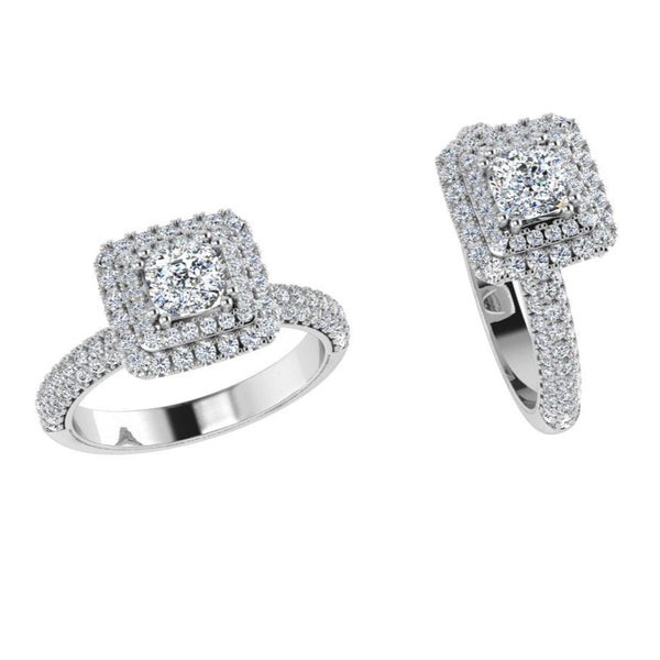 Double Halo Three Row Diamonds Ring