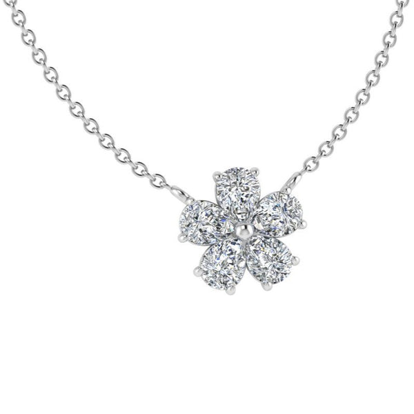 Five Petal Diamond Flower Necklace - Thenetjeweler