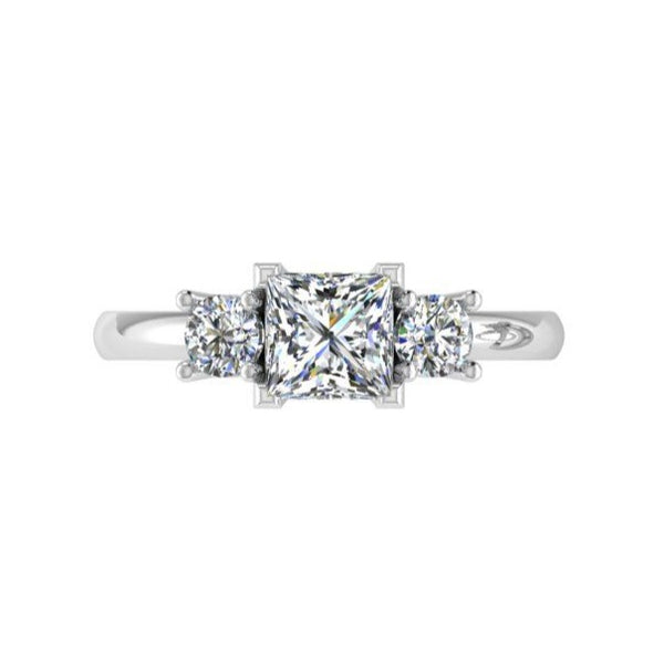 Three Stone Princess Diamond Engagement Ring 18K Gold - Thenetjeweler