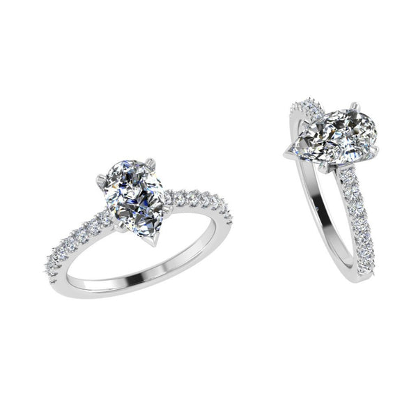 Pear Shaped engagement ring with side stones