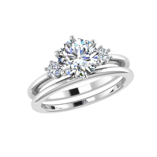 Round Diamond 3 Stone Engagement Ring and Wedding Band Set - Thenetjeweler