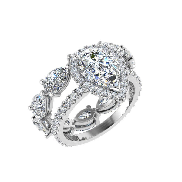 Pear Diamond Engagement and Eternity Ring Set - Thenetjeweler