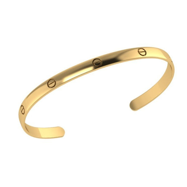 Love Screw Open Bangle Bracelet 14K Gold