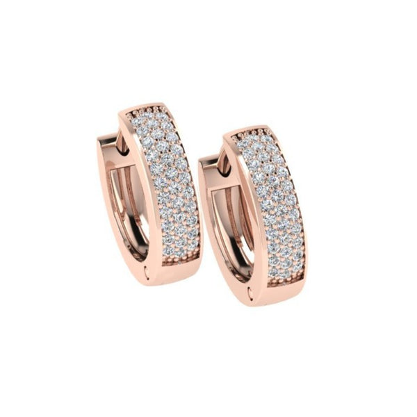 Triple Row Diamond Huggie Earrings