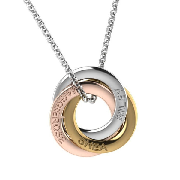 Engraved interlocking rings necklace
