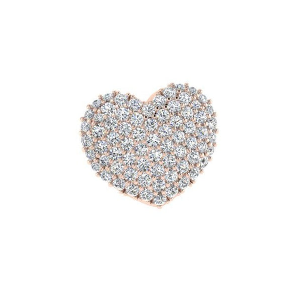 Pave Diamond Heart pendant 14K White Gold 1.50 ct.tw - Thenetjeweler