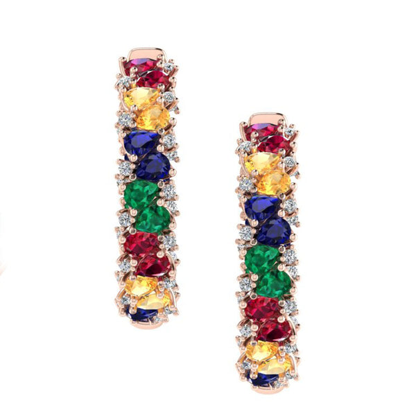 Multi Gemstone and Diamond Hoop Earrings 14K Rose Gold - Thenetjeweler