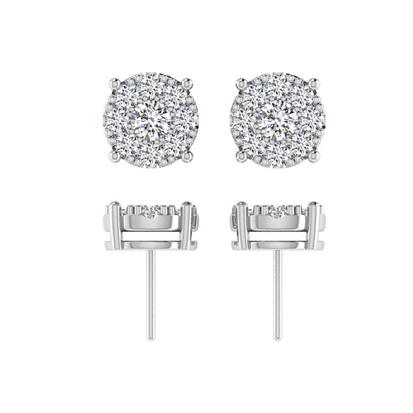 Diamond Halo Earrings White Gold