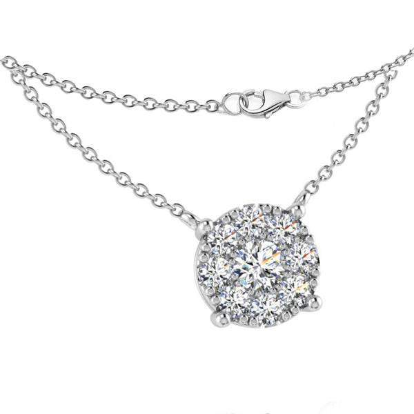 Round Diamond Halo Pendant Necklace