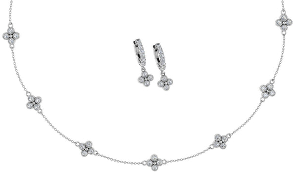 Flower Necklace Earring Set - Thenetjeweler