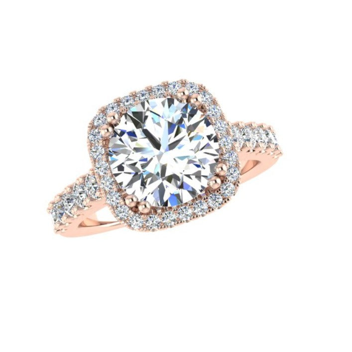Cushion Diamond Halo Engagement Ring 18K Gold - Thenetjeweler