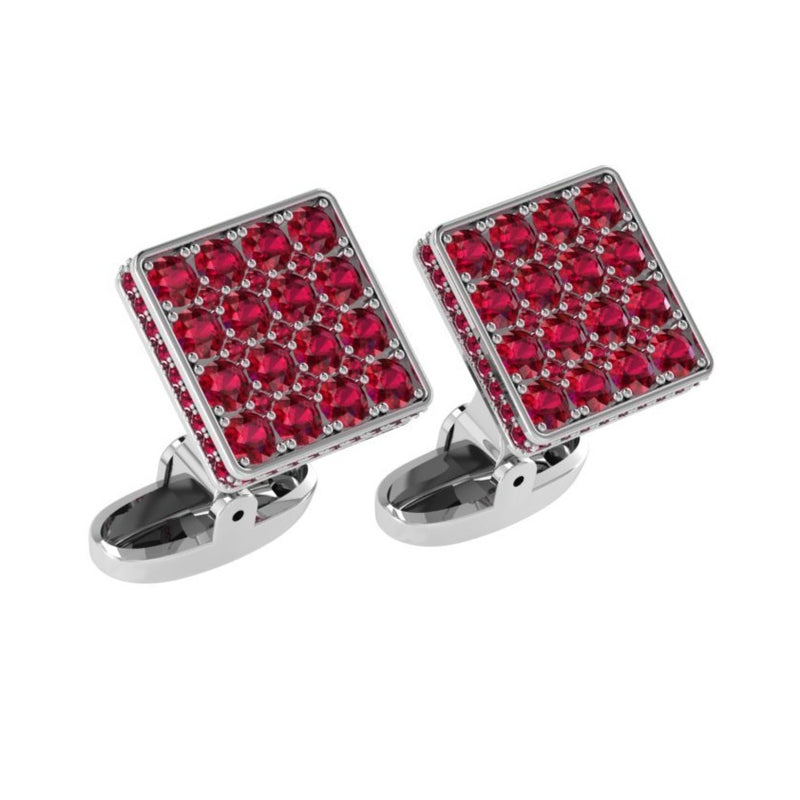 Square Cufflinks with Rubies