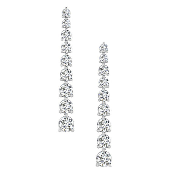 Graduated Diamond Drop Earrings in White Gold