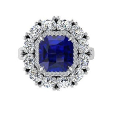 Asscher Cut Sapphire and Diamond Ring