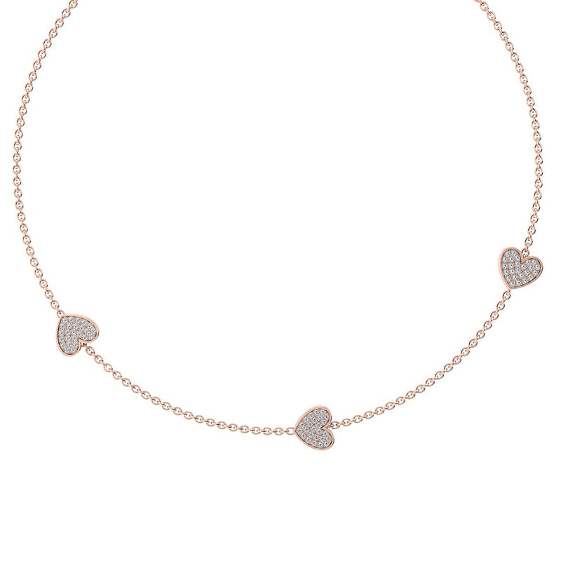 triple heart pendant diamond necklace
