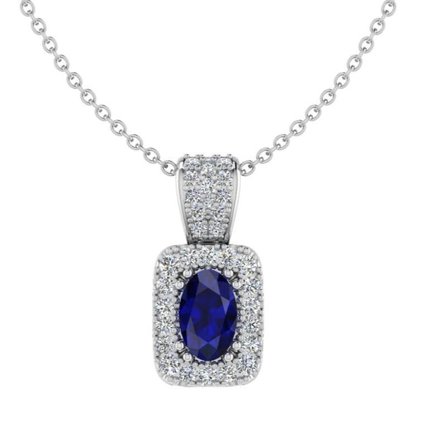 Sapphire and Diamond Halo Pendant Version 2