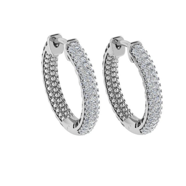Three Row Diamond Hoop Earrings - Thenetjeweler