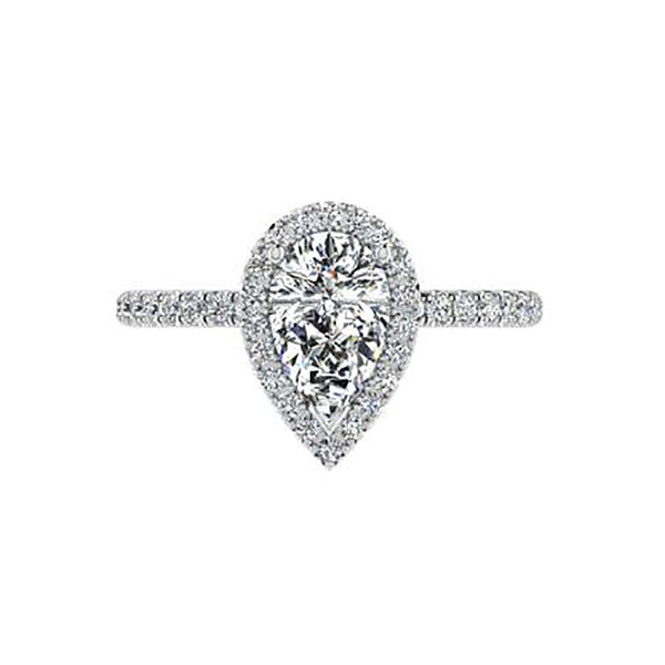 Pear Halo Diamond Engagement Ring 0.38 ct - Thenetjeweler