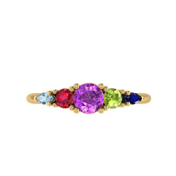 family ring with 5 birthstones