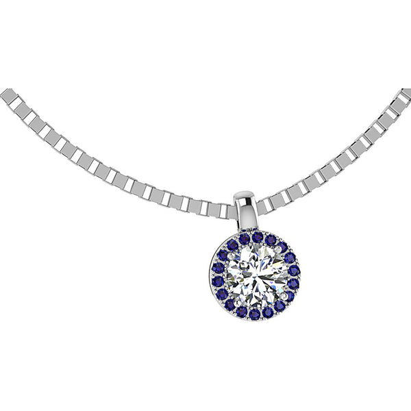 Diamond and Sapphire Halo Necklace White Gold
