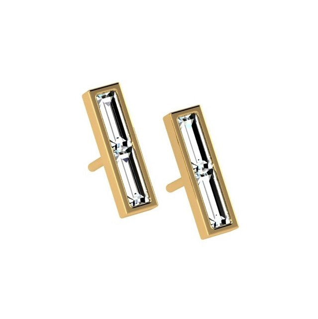 Diamond Bar Earrings 14K Gold - Thenetjeweler by Importex