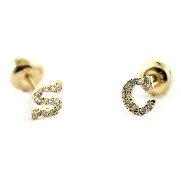 Diamond Initial Stud Earrings 0.24CT - Thenetjeweler