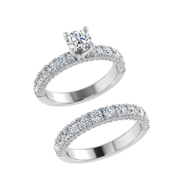 Engagement Ring and Half Eternity White Gold - Thenetjeweler