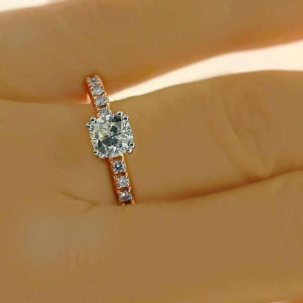 Cushion Diamond Side Stone Engagement Ring 18K Pink Gold - Thenetjeweler by Importex