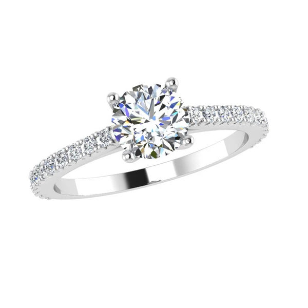 Round Diamond Engagement Ring Side Stones (0.30 ct.tw. 18K) - Thenetjeweler