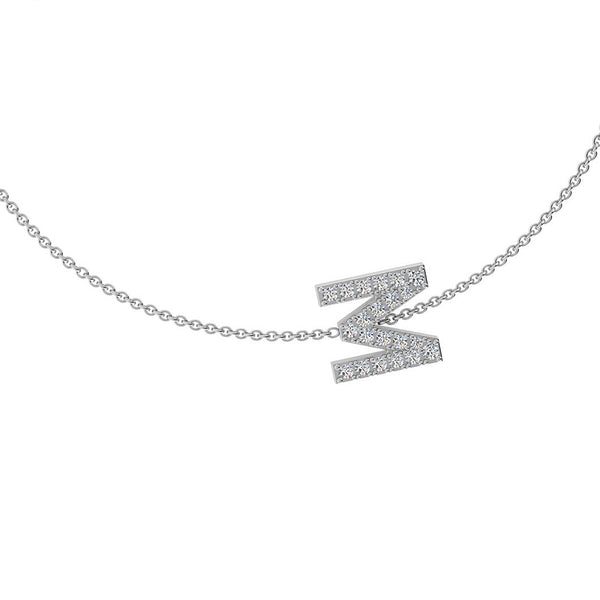 M Initial Necklace Diamond