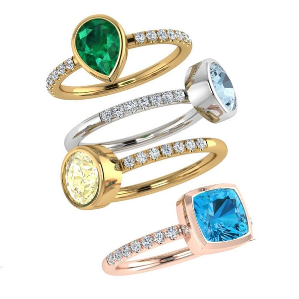 Birthstone and Diamonds Stacking Rings Multi Gold