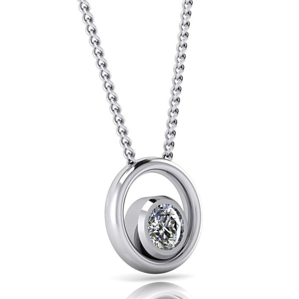 Double Circle Diamond Pendant Necklace White Gold - Thenetjeweler