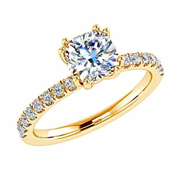 Cushion Diamond Double Prong Setting 18K Gold (0.22 ct.tw.) - Thenetjeweler