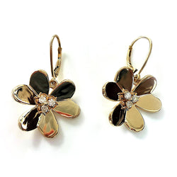 Clover Flower Diamond Earrings 14K Yellow Gold - Thenetjeweler