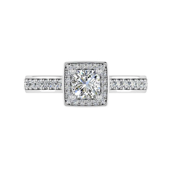 Princess-Cut Halo Diamond Engagement Ring 18k White Gold - Thenetjeweler