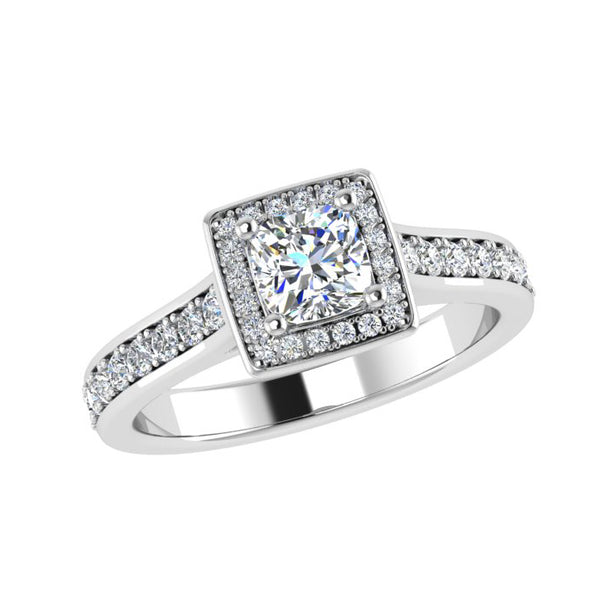 Princess-Cut Halo Diamond Engagement Ring 18k White Gold