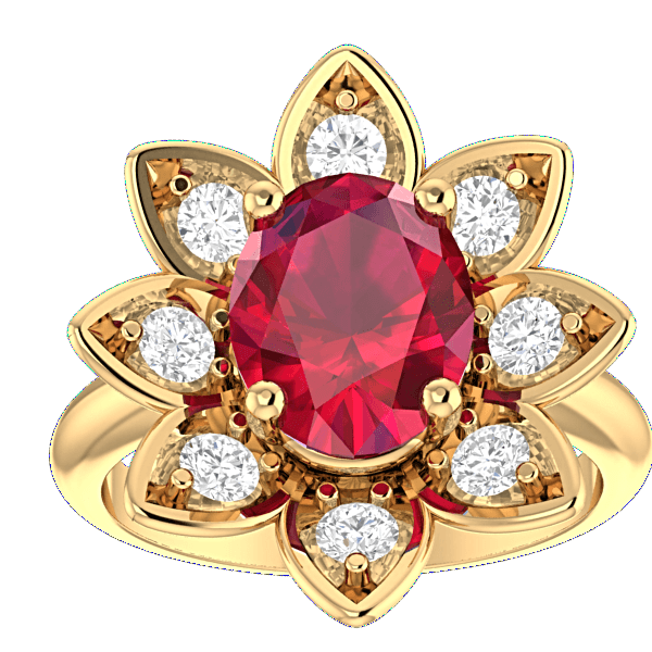 14K Yellow Gold Ruby and Diamond Flower Ring - Thenetjeweler