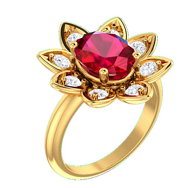 14K Yellow Gold Ruby and Diamond Flower Ring - Thenetjeweler by Importex