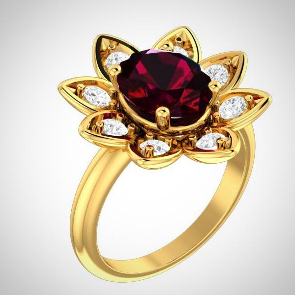 14K Yellow Gold Natural Garnet and Diamond Flower Ring - Thenetjeweler