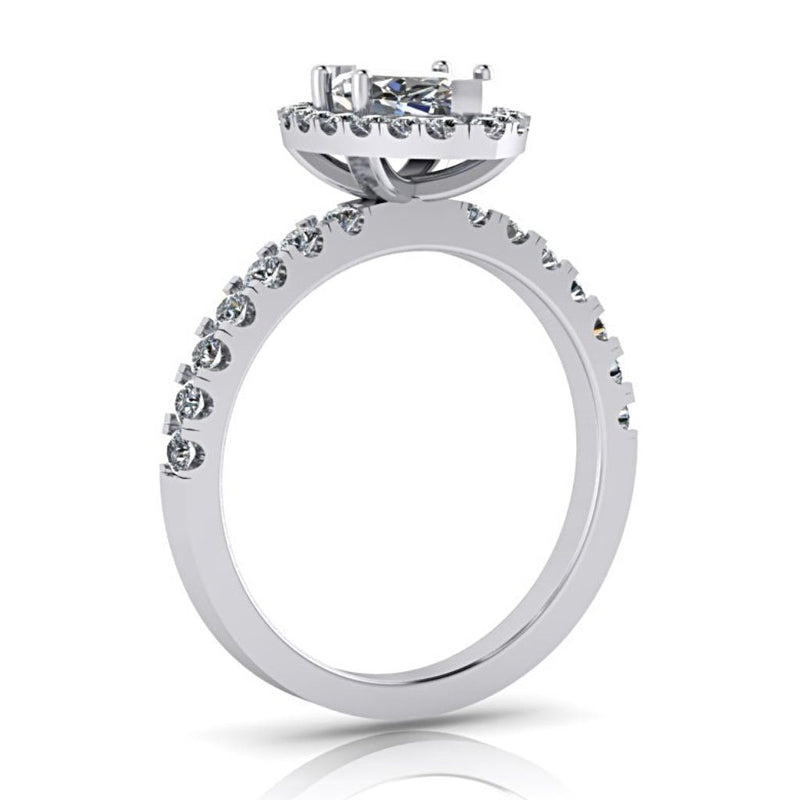 Marquise Halo Diamond Engagement Ring with Side Stones 18k White Gold - Thenetjeweler