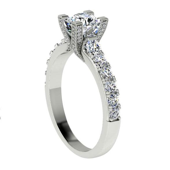 Round Diamond Prong set Engagement Ring 18K White Gold Setting (1.07 ct. tw) - Thenetjeweler