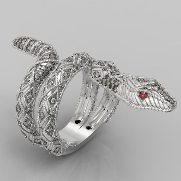 Ruby and Diamond Snake Ring 14K White Gold - Thenetjeweler